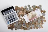 Calcolatrice e soldi — Foto Stock