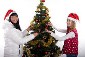 Mother and daughter celebrating christmas — Stock Photo
