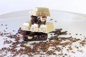 Black and white chocolate — Stock Photo