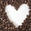 White heart in the frame of coffee beans — Stock Photo