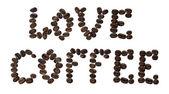 """""""爱咖啡""""上孤立白 — 图库照片"""
