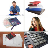 Set of six photographs on the subject of business and finance — Stock Photo