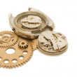 Stock Photo: Disassembled wrist watch and gears