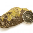 Stock Photo: Compass lies on hoary rock