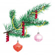 Illustration of Christmas balls and decorations on a Christmas t — Stock Photo