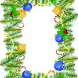 Frame of pine branches with Christmas decorations — Stock Photo