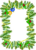 Christmas Vintage Border with balls and holly berries — Stock Photo