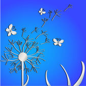 Dandelions on a blue background — Stock Vector
