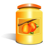 Isolated apricot jam jar — Stock Vector