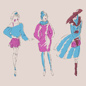 Sketch fashion girls. Vector illustration — Stock Vector