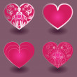 Set of pink hearts - vector illustration — Stock Vector