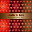 Set of seamless pattern with hearts in gold — Stock Vector
