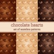 Set of seamless pattern with chocolate hearts — Stock Vector