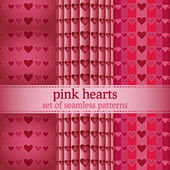 Set of seamless patterns with pink hearts - vector illustration — Stock Vector