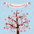 Stockvector : Valentine card with hearts and flowers
