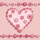 Pink seamless pattern with flowers heart - vector illustration — Vector de stock