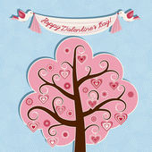 Valentine card with hearts and flowers — Stock Vector