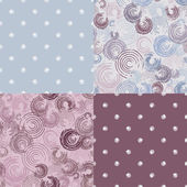 Set seamless patterns with circles - vector illustration — Stock Vector