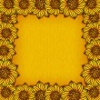 图库矢量图片: Yellow background with border of sunflowers - vector illustration