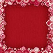 Red background with border of pink flowers - vector illustration — Stock Vector