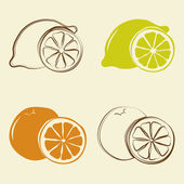 Lemon and orange icons - vector illustration — Stock Vector