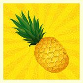Yellow pineapple background- vector illustration — Stock Vector