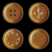 Set of vintage bronze buttons - vector illustration — Stock Vector