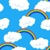 Seamless pattern with clouds and rainbow - vector illustration — Stock Vector