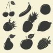 Fruits and berries icons - vector illustration — Stock Vector