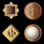 Set of vintage gold buttons - vector illustration — Stock Vector