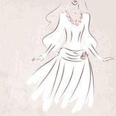 Невеста в свадебном платье на фоне безобразный - векторные иллюстрации — Cтоковый вектор