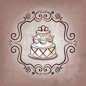 Cake on polka dot background — 图库矢量图片