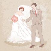 Braut und Bräutigam auf grunge hintergrund — Stockvektor