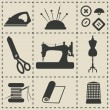 Stock Vector: Sewing icons