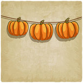 Old background with pumpkins on rope — Stock Vector