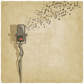 Vintage background with microphone — Stock Vector