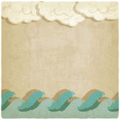 Vintage background with waves and clouds — Stock Vector