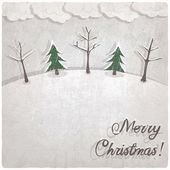 Christmas background with snow-covered trees — 图库矢量图片