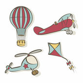Set of flying icons — Stock Vector