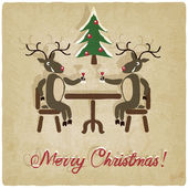 Christmas background with deers — Vecteur