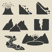 Set of mountains icons — Stock Vector