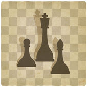 Sport chess logo old background — Vector de stock