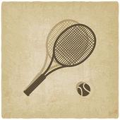 Sport tennis logo old background — Stock Vector