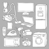 Home appliances and electronics icons — Stock Vector