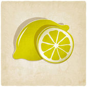 Paper lemon icon on old background — Stock Vector