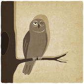 Owl on branch old background — Stock Vector