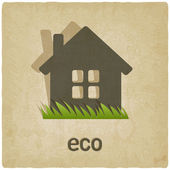 Eco house old background — Stock Vector