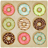 Donuts retro striped background — Stock Vector