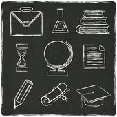 Education icons set on old black board — Stock Vector