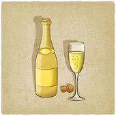 Champagne old background — Wektor stockowy